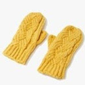 NWT Yellow Cable Knit Mittens